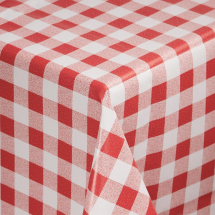 PVC Chequered Tablecloth Red 35in